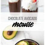 collage of avocado mousse cups