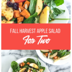 plates with spinach salad topped with apples and sweet potatoes