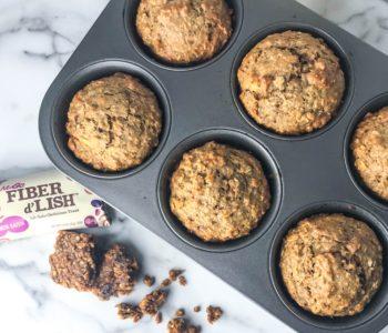 High Fiber Cinnamon Oatmeal Raisin Breakfast Muffins