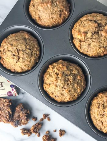 muffin tin with muffins and fiber bar
