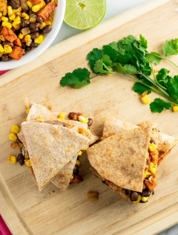 quesadillas with bowl of vegetables