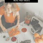 woman chopping fruit with text overlay