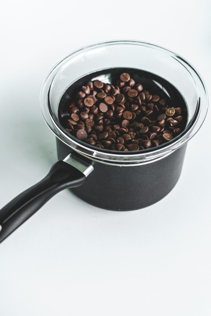 chocolate chips in double-boiler