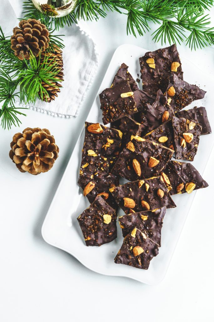 chocolate coffee bark with almonds on tray