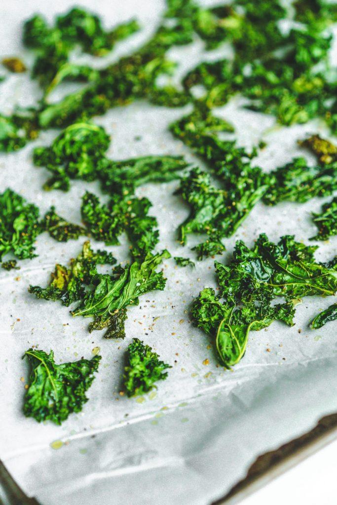 kale chips on sheet pan