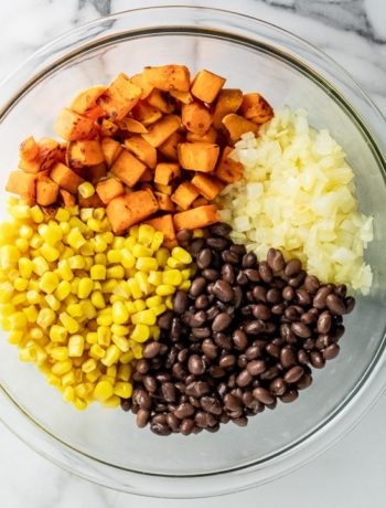 bowl with corn, black beans, diced onions, and diced sweet potatoes