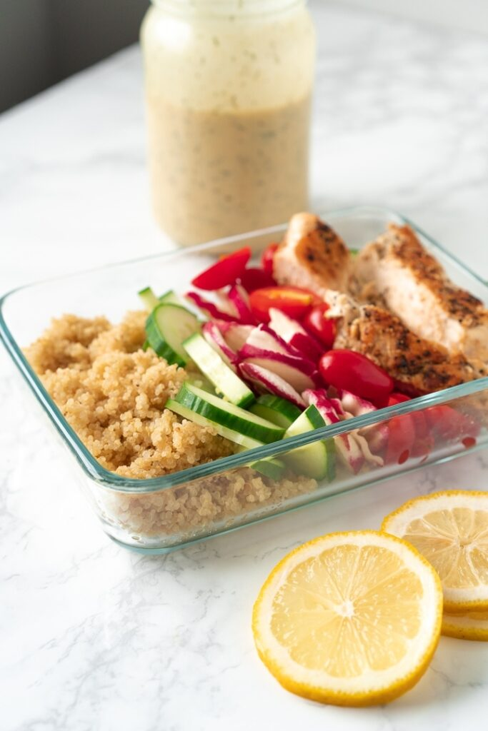 rectangular food container with quinoa power bowl