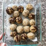 rectangular glass container with Maple Tahini Oatmeal Balls