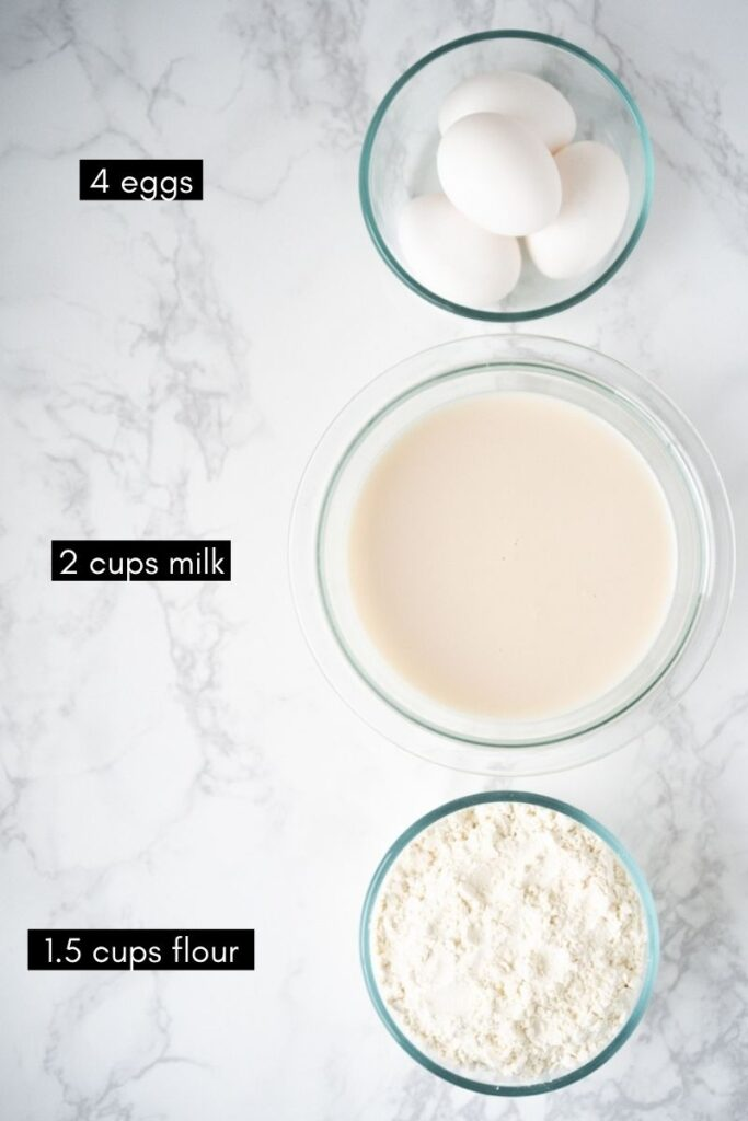 bowls with eggs, milk, and flour