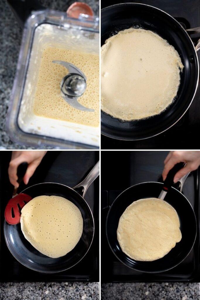making 3-ingredient crepes