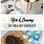 collage with hot chocolate ingredients and a mug of hot chocolate