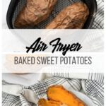 collage with whole baked sweet potatoes and sliced baked sweet potatoes