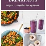 collage of plant-based breakfasts - veggie hash, donut, smoothie