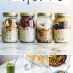 collage of plant-based breakfasts - overnight oats, green smoothie, chickpea muffin, and veggie hash